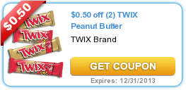 $0.50 off (2) TWIX Peanut Butter
